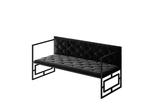 Modern Sofa With Black Metal Frame And Fabric Seats